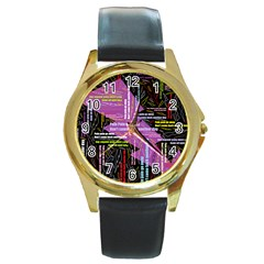 Pain Pain Go Away Round Leather Watch (Gold Rim)