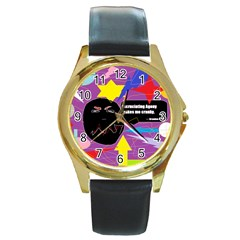Excruciating Agony Round Leather Watch (Gold Rim)