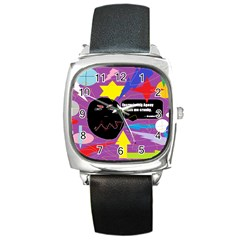Excruciating Agony Square Leather Watch