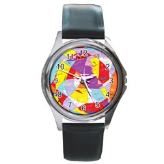 Ain t One Pain Round Leather Watch (silver Rim)