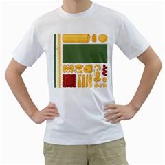 Pasta Mondrian Men s T Shirt (white)