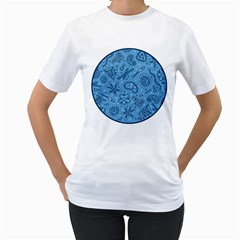 Through The Microscope   Blue Women s T Shirt (white)