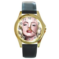 Marilyn Round Leather Watch (gold Rim)