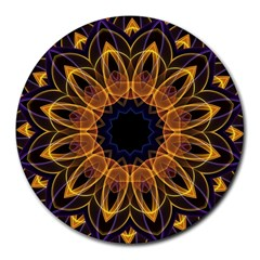 Yellow Purple Lotus Mandala 8  Mouse Pad (round)