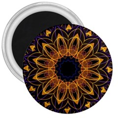 Yellow Purple Lotus Mandala 3  Button Magnet