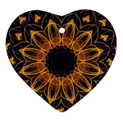 Yellow Purple Lotus Mandala Heart Ornament