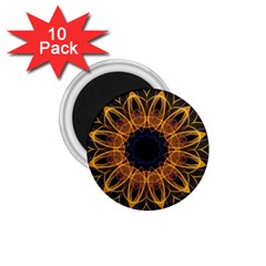 Yellow Purple Lotus Mandala 1.75  Button Magnet (10 pack)