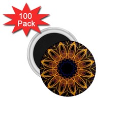 Yellow Purple Lotus Mandala 1.75  Button Magnet (100 pack)