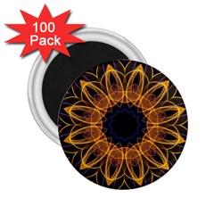 Yellow Purple Lotus Mandala 2.25  Button Magnet (100 pack)