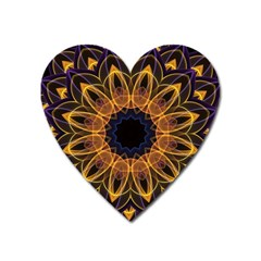Yellow Purple Lotus Mandala Magnet (heart)