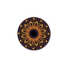 Yellow Purple Lotus Mandala Golf Ball Marker