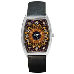 Yellow Purple Lotus Mandala Tonneau Leather Watch