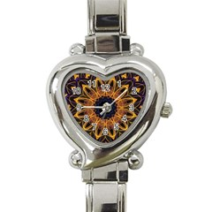 Yellow Purple Lotus Mandala Heart Italian Charm Watch