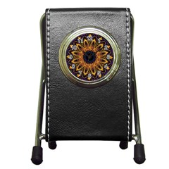 Yellow Purple Lotus Mandala Stationery Holder Clock