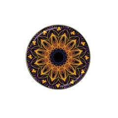 Yellow Purple Lotus Mandala Golf Ball Marker 4 Pack (for Hat Clip)