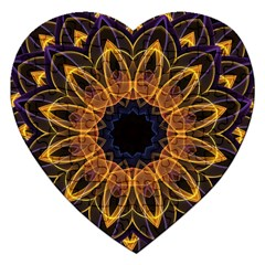 Yellow Purple Lotus Mandala Jigsaw Puzzle (Heart)
