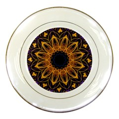 Yellow Purple Lotus Mandala Porcelain Display Plate