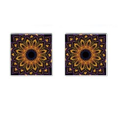 Yellow Purple Lotus Mandala Cufflinks (square)