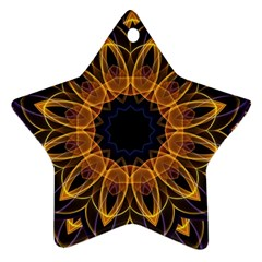 Yellow Purple Lotus Mandala Star Ornament (two Sides)