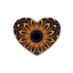 Yellow Purple Lotus Mandala Drink Coasters 4 Pack (Heart)