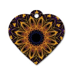 Yellow Purple Lotus Mandala Dog Tag Heart (One Sided)