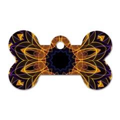 Yellow Purple Lotus Mandala Dog Tag Bone (Two Sided)