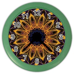 Yellow Purple Lotus Mandala Wall Clock (color)