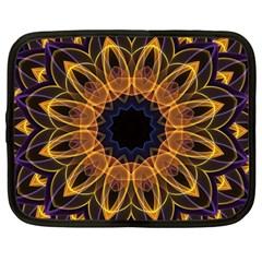 Yellow Purple Lotus Mandala Netbook Sleeve (Large)