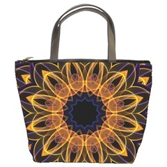 Yellow Purple Lotus Mandala Bucket Handbag