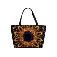 Yellow Purple Lotus Mandala Large Shoulder Bag