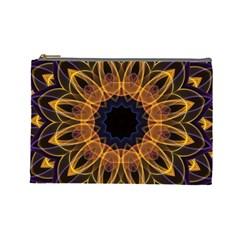 Yellow Purple Lotus Mandala Cosmetic Bag (large)