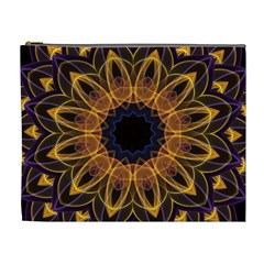 Yellow Purple Lotus Mandala Cosmetic Bag (xl)