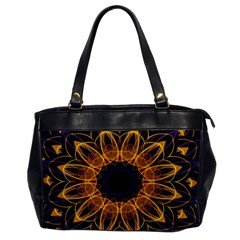 Yellow Purple Lotus Mandala Oversize Office Handbag (one Side)