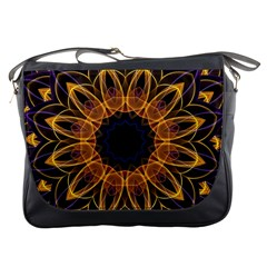 Yellow Purple Lotus Mandala Messenger Bag