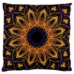 Yellow Purple Lotus Mandala Large Cushion Case (single Sided)