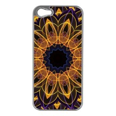 Yellow Purple Lotus Mandala Apple Iphone 5 Case (silver)
