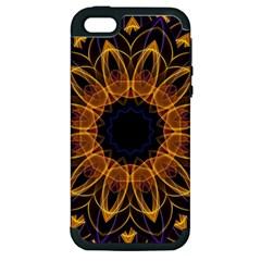 Yellow Purple Lotus Mandala Apple Iphone 5 Hardshell Case (pc+silicone)