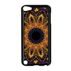 Yellow Purple Lotus Mandala Apple iPod Touch 5 Case (Black)