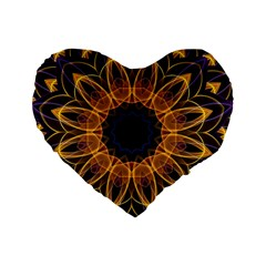 Yellow Purple Lotus Mandala 16  Premium Heart Shape Cushion