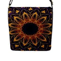 Yellow Purple Lotus Mandala Flap Closure Messenger Bag (large)