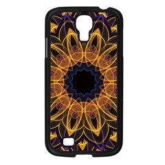 Yellow Purple Lotus Mandala Samsung Galaxy S4 I9500/ I9505 Case (Black)