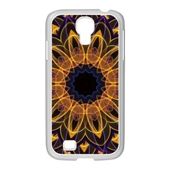 Yellow Purple Lotus Mandala Samsung GALAXY S4 I9500/ I9505 Case (White)