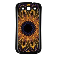 Yellow Purple Lotus Mandala Samsung Galaxy S3 Back Case (Black)