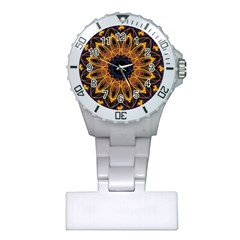 Yellow Purple Lotus Mandala Nurses Watch
