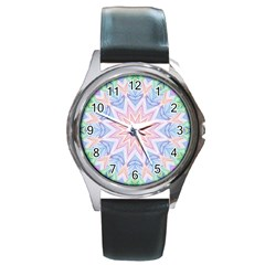 Soft Rainbow Star Mandala Round Leather Watch (Silver Rim)