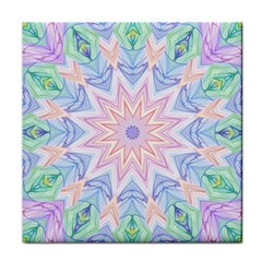 Soft Rainbow Star Mandala Ceramic Tile