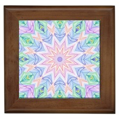 Soft Rainbow Star Mandala Framed Ceramic Tile