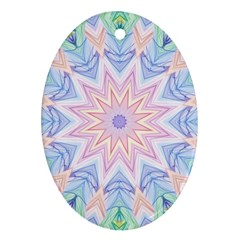 Soft Rainbow Star Mandala Oval Ornament