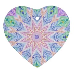 Soft Rainbow Star Mandala Heart Ornament