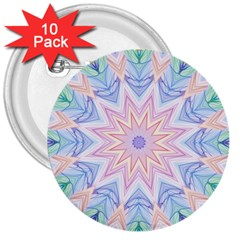 Soft Rainbow Star Mandala 3  Button (10 pack)